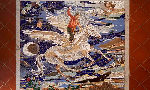 Mosaico all'ingresso della sede